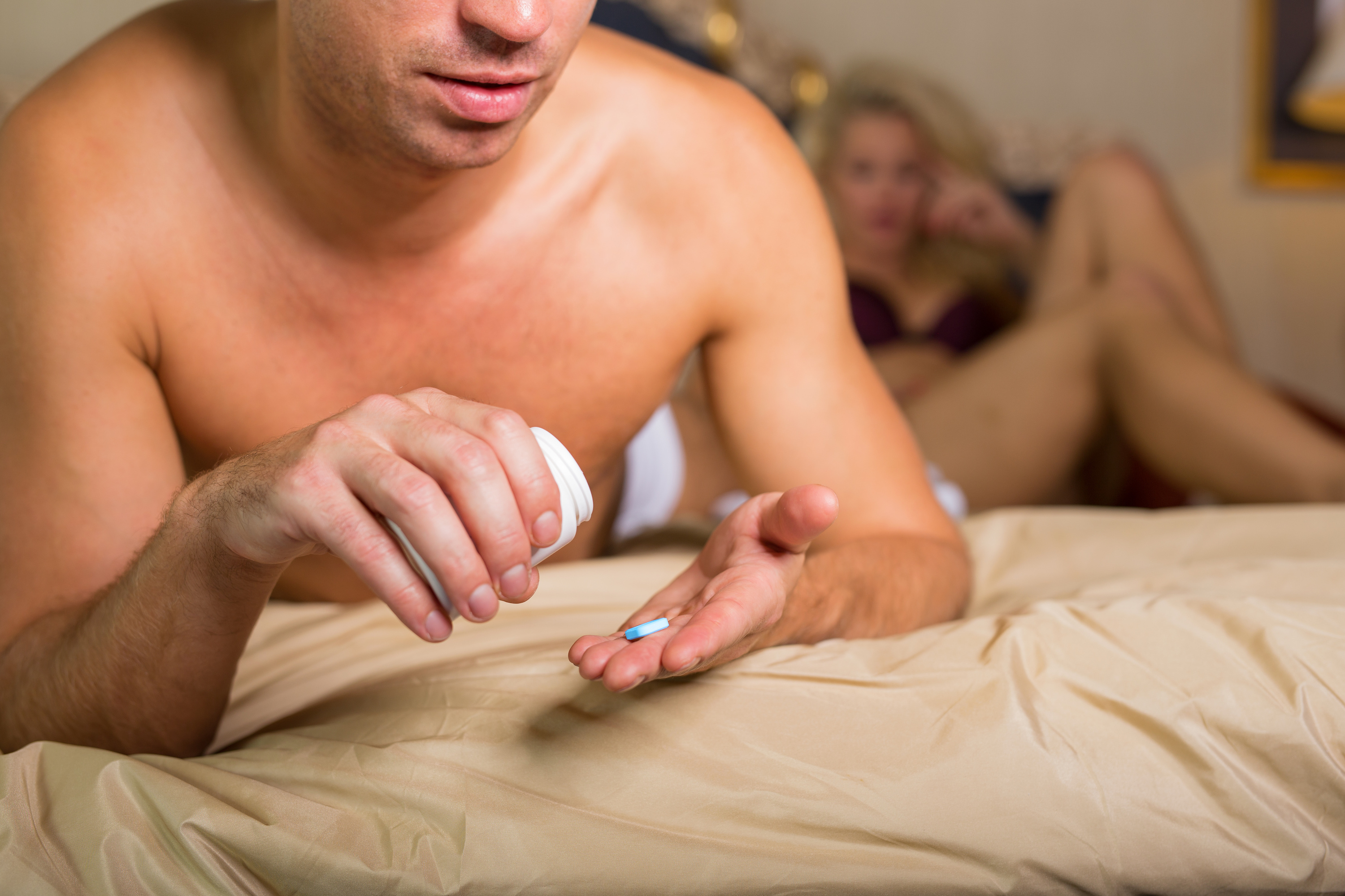 Man taking ED medication viagra or cialis